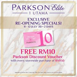 Department Stores offers in the Parkson catalogue in Melaka ( 2 days left )