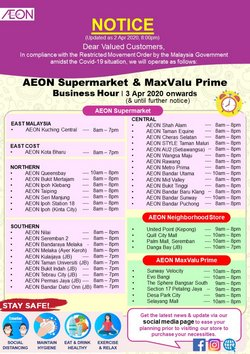 Supermarkets offers in the AEON Shopping Centre catalogue in Petaling Jaya ( 5 days left )