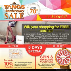 Offers from Tangs in the Kuala Lumpur leaflet