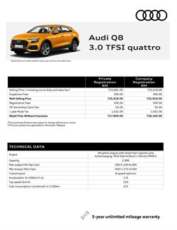 Cars, motorcycles & spares offers in the Audi catalogue in Klang ( More than a month )