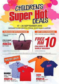 Offers from SOGO in the Johor Bahru leaflet