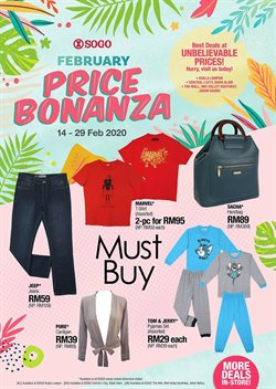 Clothes, shoes & accessories offers in the SOGO catalogue in Kuala Lumpur ( 11 days left )