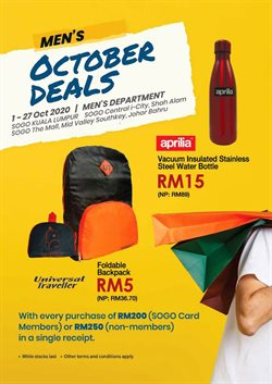 Clothes, shoes & accessories offers in the SOGO catalogue in Johor Bahru ( 6 days left )