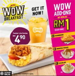 Offers from KFC in the Johor Bahru leaflet