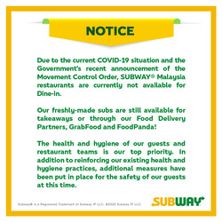 Subway coupon in Johor Bahru ( 5 days left )