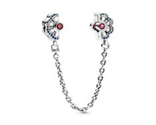 Fan silver safety chain with synthetic ruby, fancy blue cubic zirconia and true blue crystal offers at RM 379