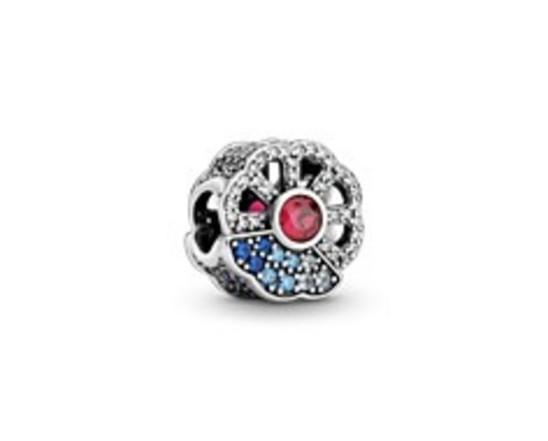 Fan silver charm with synthetic ruby, clear and fancy blue cubic zirconia, true blue and forever blue crystal offers at RM 379