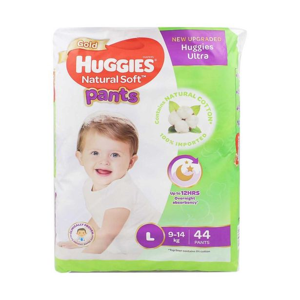 Huggies Gold Natural Soft Pants L Baby Diapers 44pcs offers at RM 39.9