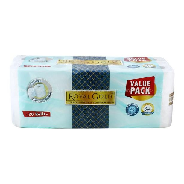 Royal Gold Quilted Bathroom Tissues Value Pack (3 Ply) 20roll offers at RM 29.8